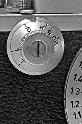 foto 8: bottone istantanee lente (i tempi indicati vanno da 1 secondo ad 1/20 di secondo più la posa                    T. Per l' utilizzo dei tempi lenti il bottone delle istantanee veloci va posizionato sul                tempo di 1/20 (20-1). La posa T consente di lasciare aperto l' otturatore dopo lo                scatto; per richiuderlo va ruotato leggermente il bottone delle istantanee lente.